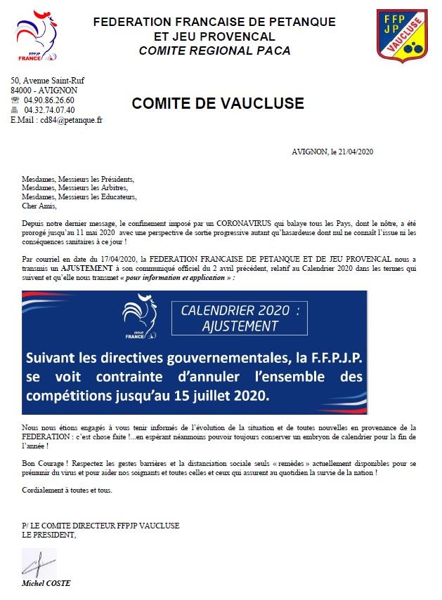 Comité du Vaucluse FFPJP